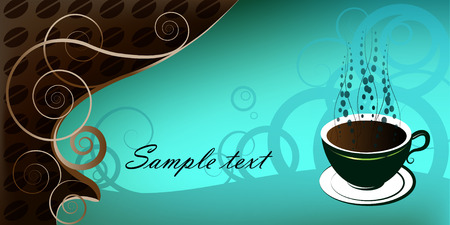 cup of coffee, illustration on blue background Vector