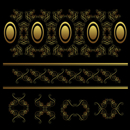 swirl ornament set on black background  Stock Vector - 8193648