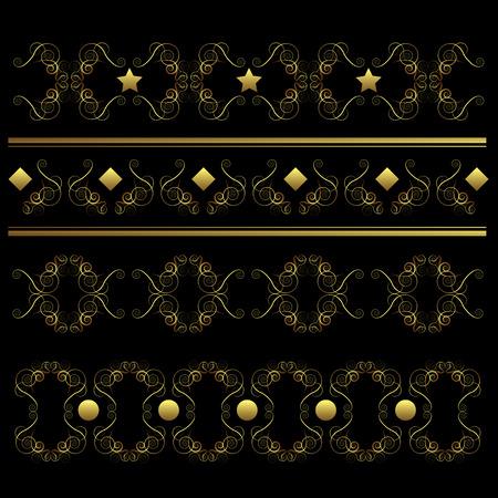 Vector swirl ornament set on black background Stock Vector - 8193649