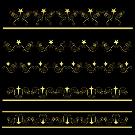 Vector swirl ornament set on black background Stock Vector - 8193645