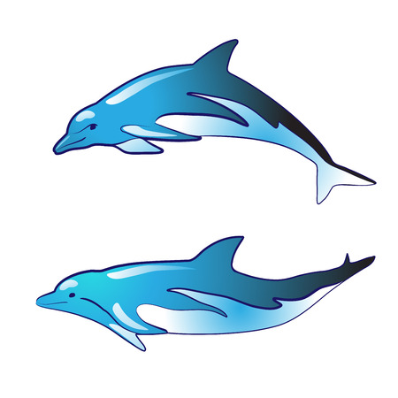 blue dolphin silhouettes Vector