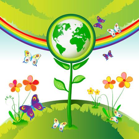 Eco Earth flowers, garden, butterflies and rainbow Vector
