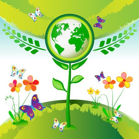 Eco Earth flower, garden, butterflies Vector