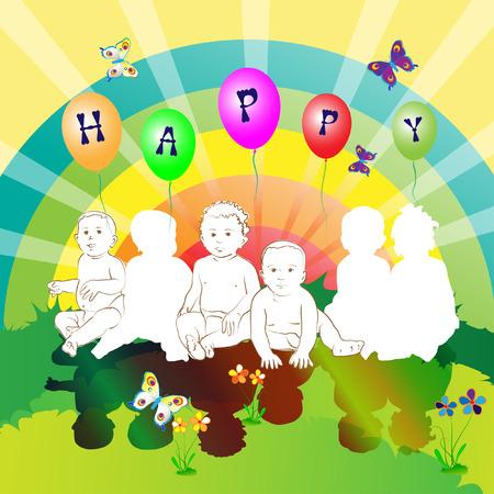 happy friends kids Vector