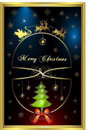 Santa's Sleigh, illustration card Stock Vector - 8450893