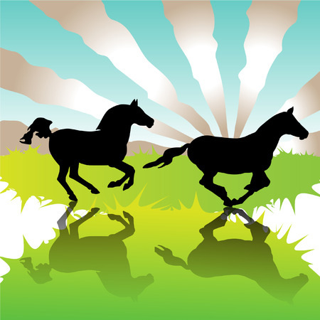 Galloping horses in field  Vector