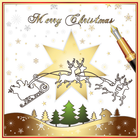 Santa's Sleigh, illustration card Stock Vector - 8450871