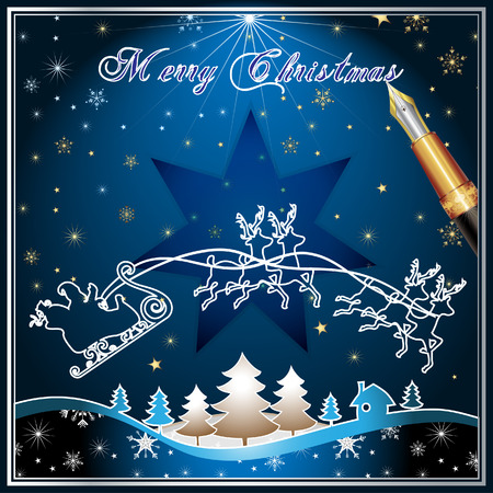 Santa's Sleigh, illustration card Stock Vector - 8450873