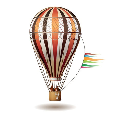 aloft: Colorful hot air balloon with silhouettes isolated on white background