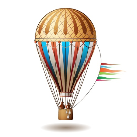 Colorful hot air balloon with silhouettes isolated on white background Stock Vector - 8803831