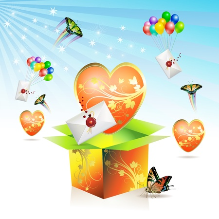 Valentines box, big heart, envelopes raised by balloons and butterfly Vector