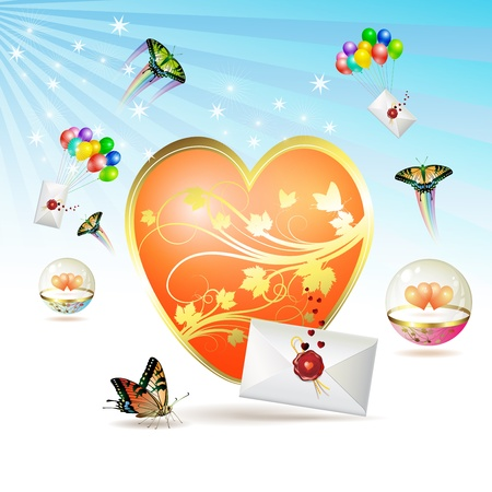 Big heart, envelopes raised by balloons and butterfly Vector
