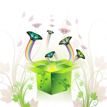 Springtime box with butterflies  Stock Vector - 8804031
