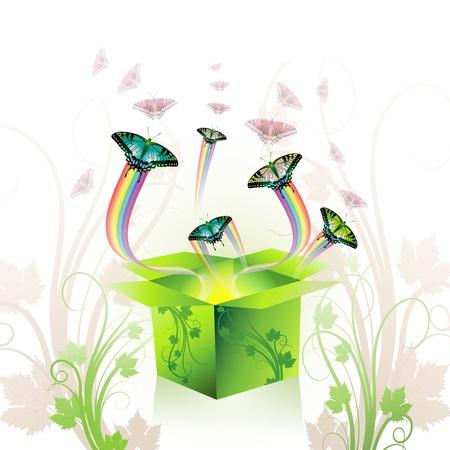 Springtime box with butterflies Stock Vector - 8804031