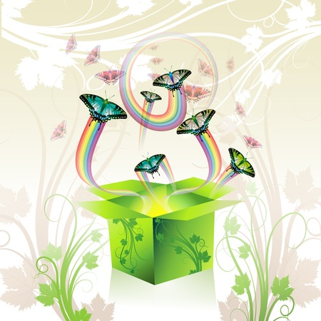 Springtime box with butterflies Stock Vector - 8804042