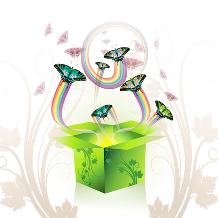 Springtime box with butterflies Stock Vector - 8804030