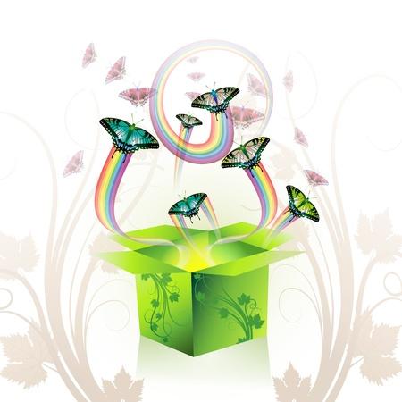 Springtime box with butterflies Stock Vector - 8804030