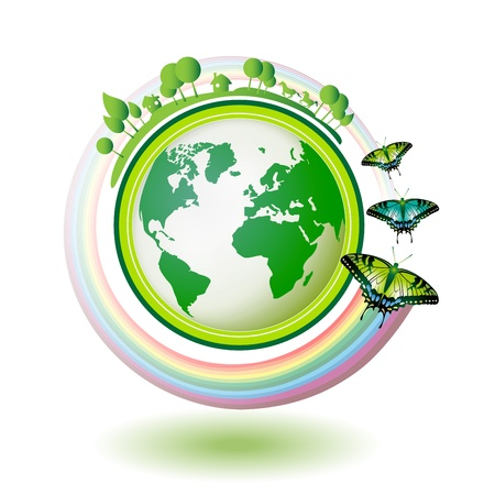 Eco Earth, green and blue with butterflies on white background  Vector