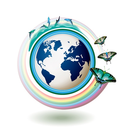 Eco Earth, green and blue with butterflies on white background  Stock Vector - 8804053