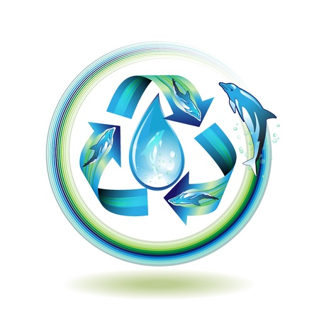 Ecology icon with drop and dolphins, recycle water Stock Vector - 8803943