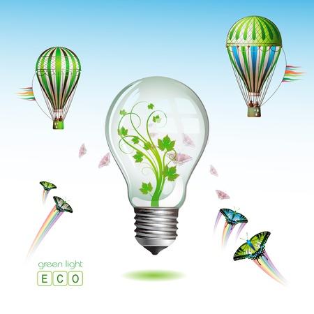 Light bulb for eco environmental concept  Stock Vector - 8804028