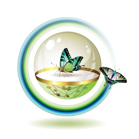 identity protection: Ecology icon with butterfly, clean environment Illustration