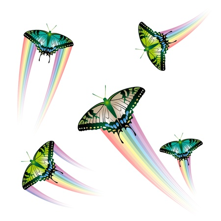 Butterfly Collection with rainbow jet  Illustration