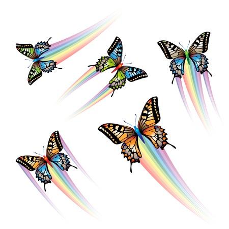 farfalla nera: Farfalla insieme con il getto di arcobaleno  Vettoriali