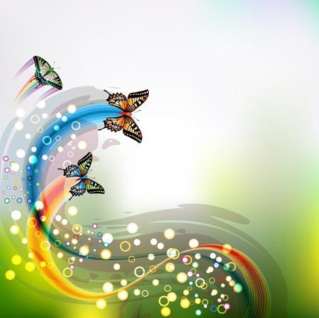 Springtime achtergrond met vlinders Stock Illustratie