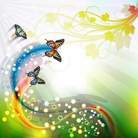 arcoiris: Fondo de primavera con mariposas