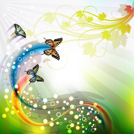 rainbow color star: Springtime background with butterflies Illustration