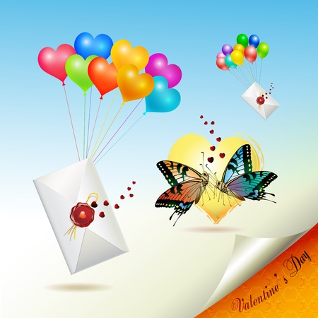 news letter: Envelopes with seal raised by balloons
