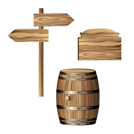 Barril y madera signo direccional
