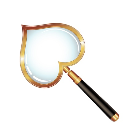 Magnifying glass with shape heart isolated on white background, vector object  Stock Vector - 8803817