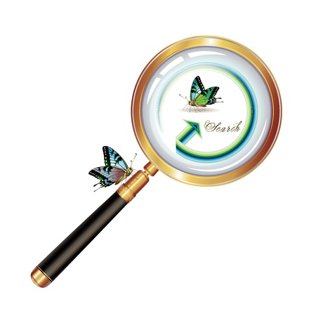 inquire: black, butterfly, clip, closeup, concept, crime, curiosity, design, detail, detective, discovery, enlarge, examine, exploration, find, focus, glass, gold, graphic, illustration, inquire, instrument, investigate, investigation, isolated, item, lens, look,