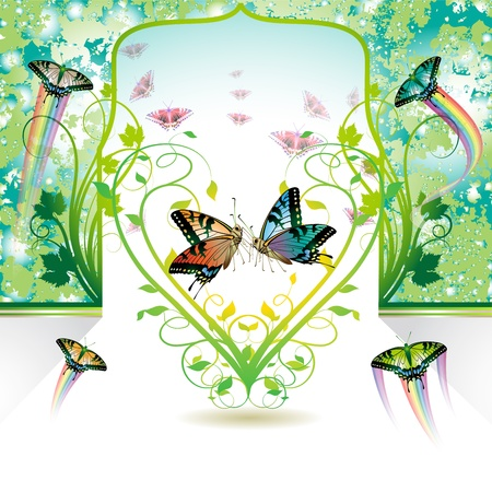 Springtime love with butterflies Vector