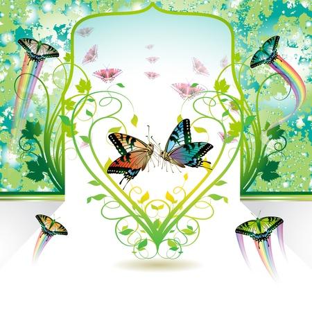 Springtime love with butterflies Stock Vector - 8804046