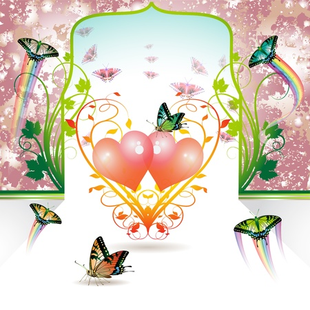 Valentine's day, Springtime love with butterflies Stock Vector - 8804052
