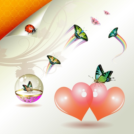 butterfly ladybird: Valentines day, illustration with hearts and butterflies