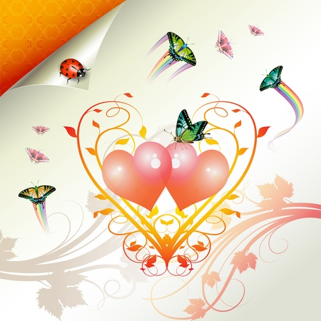 Valentines day, illustration with hearts and butterflies Vector