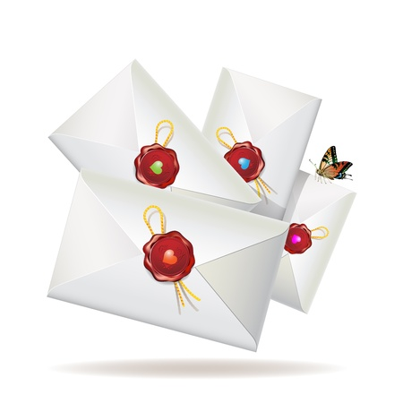 Group of envelopes with seal and butterfly isolated on white background, vector illustration  Vector