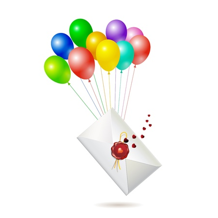 Back of envelope with seal raised by balloons, isolated on white background, vector illustration  Vector