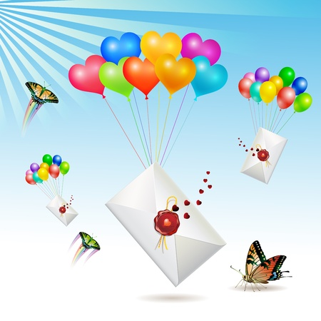 Envelopes with seal raised by balloons, vector illustration  Vector
