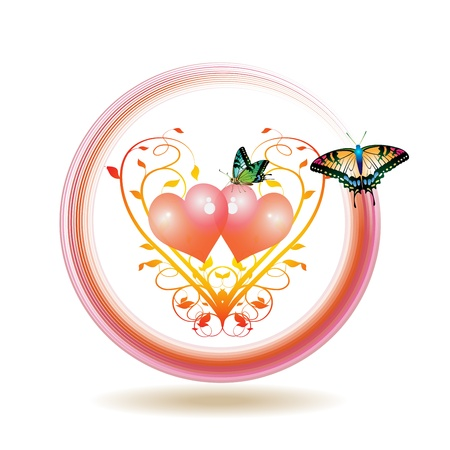 Valentine's day icon, illustration with hearts and butterflies Stock Vector - 8803829