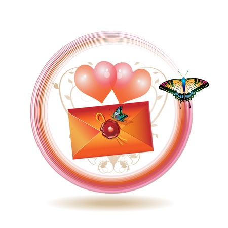 Mail icon for Valentine's day illustration with hearts, envelope and butterflies, vector illustration Stock Vector - 8803923