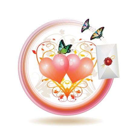 Mail icon for Valentine's day, illustration with hearts, envelope and butterflies, vector illustration Stock Vector - 8803949