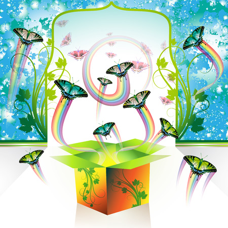 Springtime box with butterflies, vector illustration Stock Vector - 8804087