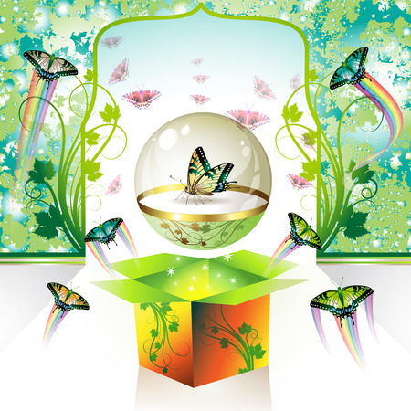 Springtime box with butterflies, vector illustration Stock Vector - 8804088