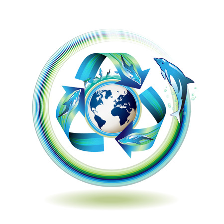 Ecology icon with dolphins, recycle water, vector illustration  Stock Vector - 8804084