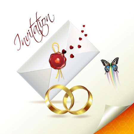 Wedding card with butterflies  Stock Vector - 8804086